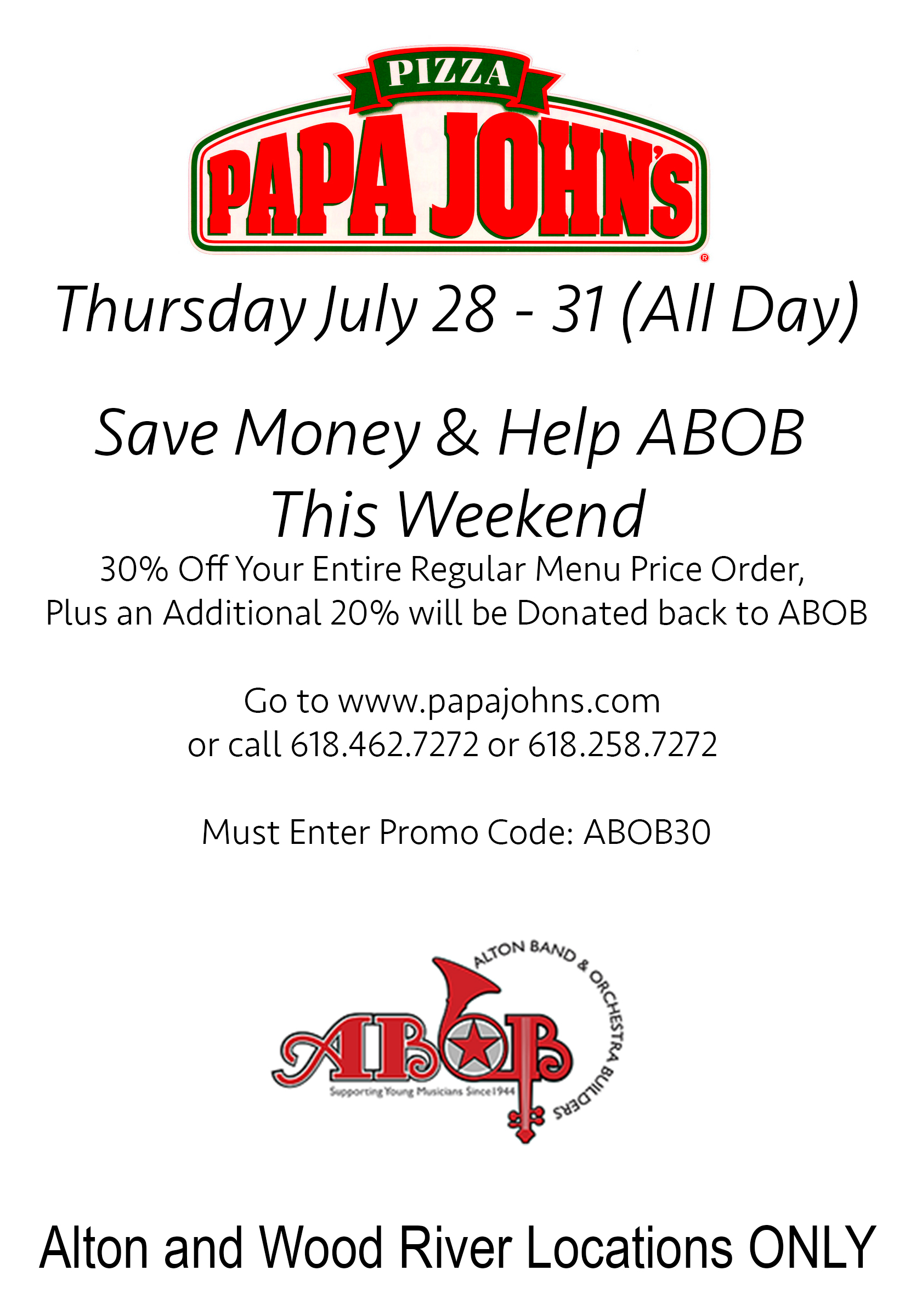 Order Papa John\'s, Save Money, and Help ABOB This Weekend – ABOB
